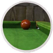 Red Pool Ball On A Pool Table Round Beach Towel