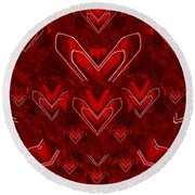 Red Pop Art Hearts Round Beach Towel