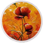 Red Poppies 023 Round Beach Towel