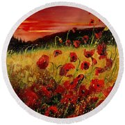 Red Poppies And Sunset Round Beach Towel