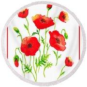 Red Poppies Botanical Design Round Beach Towel