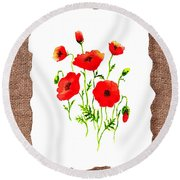 Red Poppies Decorative Collage Round Beach Towel