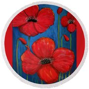 Red Poppies On Blue Round Beach Towel