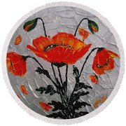 Red Poppies Original Palette Knife Round Beach Towel