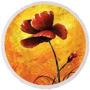 Red Poppy 012 Round Beach Towel