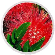 Red Powder Puff Round Beach Towel