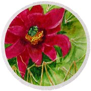 Red Prickly Pear Round Beach Towel