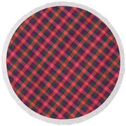 Red Purple And Green Diagonal Plaid Textile Background Round Beach Towel