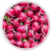 Red Radishes  Round Beach Towel