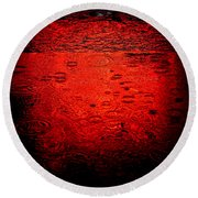 Red Rain Round Beach Towel by Dave Bowman