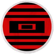 Red Rectangle Round Beach Towel