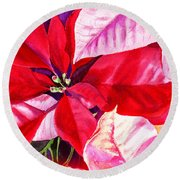 Red Red Christmas Round Beach Towel