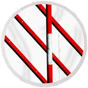 Red Red Line Round Beach Towel