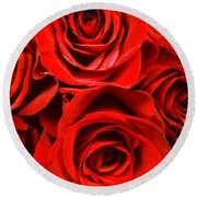 Red Red Rose Round Beach Towel