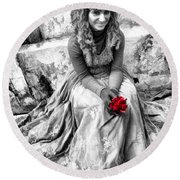 Red Red Rose In Black And White Round Beach Towel