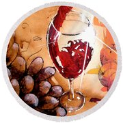 Red Red Wine Round Beach Towel