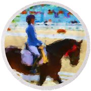Red Ribbon Round Beach Towel