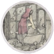 Red Riding Hood-one Month Later Round Beach Towel