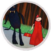 Red Ridinghood Round Beach Towel by James W Johnson