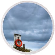 Red Ring Life Preserver Hanging Round Beach Towel
