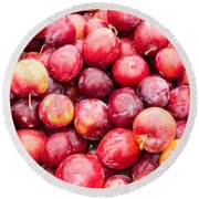 Red Ripe Plums Round Beach Towel