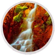 Red River Falls  Round Beach Towel