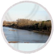 Red River Looking East Round Beach Towel