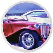 Red Roadster Round Beach Towel