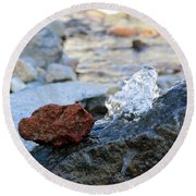 Red Rock And Crystal Water Round Beach Towel