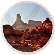 Red Rock And Spire Round Beach Towel by Marty Koch