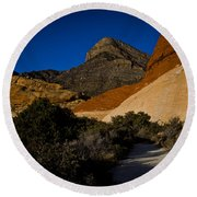 Red Rock Canyon At Dusk Round Beach Towel