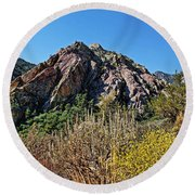 Red Rock Canyon With Foliage Round Beach Towel