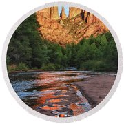 Red Rock Crossing Round Beach Towel