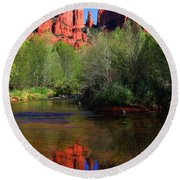 Red Rock Crossing Reflections Round Beach Towel