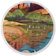 Red Rock Crossing-sedona Round Beach Towel by Marilyn Smith