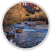 Red Rock Crossing Winter Round Beach Towel