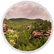 Red Rock Green Forest No2 Round Beach Towel