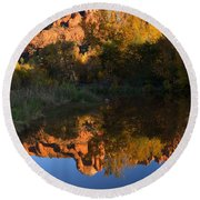 Red Rock Reflections Round Beach Towel