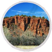 Red Rock State Park Round Beach Towel