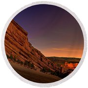 Red Rocks Amphitheatre At Night Round Beach Towel