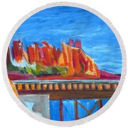 Red Rocks And Railroad Trestle Round Beach Towel