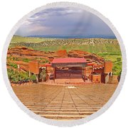 Red Rocks Park Amphitheater - Centered View Round Beach Towel