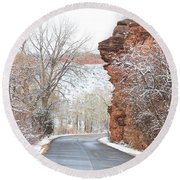 Red Rocks Winter Landscape Drive Round Beach Towel by James BO  Insogna