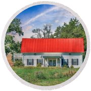 Red Roof Charm Round Beach Towel