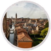 Red Roofs Of Europe - Venetian Canal Palaces Gardens And Courtyards Round Beach Towel