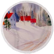 Red Roofs Round Beach Towel