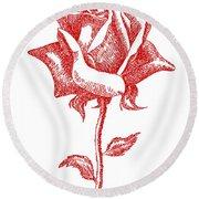 Red Rose Art 1 Round Beach Towel