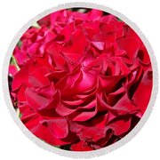Red Rose Art Prints Big Roses Floral Round Beach Towel