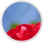 Red Rose Blue Sky Round Beach Towel