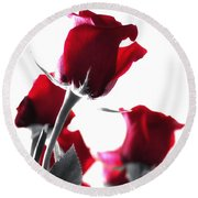 Red Rose Color Block 2 Round Beach Towel